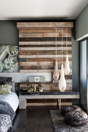 Bedroom-Reclaimed-Wood-Wall-DIY-Lighting-Decor